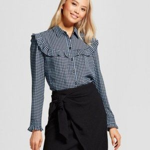 WHO WHAT WEAR Blue Print Pioneer Ruffle Blouse